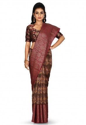 Banarasi Pure Silk Handloom Saree in Dark Brown