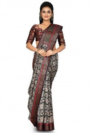 Banarasi Pure Silk Handloom Saree in Dark Green