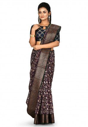 Banarasi Pure Silk Handloom Saree in Dark Violet