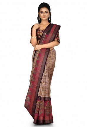 Banarasi Pure Silk Handloom Saree in Fawn
