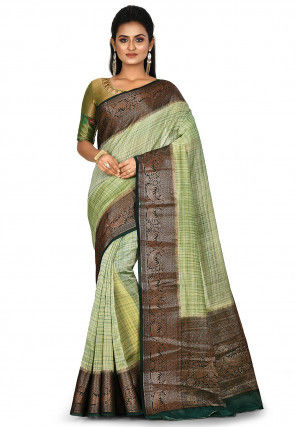 Banarasi Pure Silk Handloom Saree in Light Green