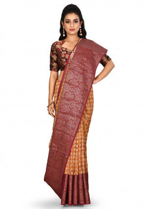 Banarasi Pure Silk Handloom Saree in Mustard