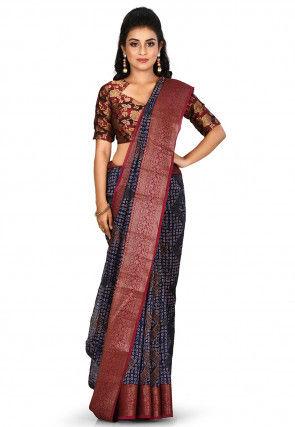 Banarasi Pure Silk Handloom Saree in Navy Blue