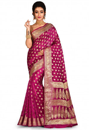 Banarasi Pure Silk Saree in Fuchsia