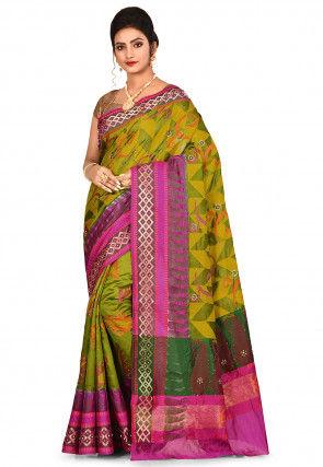 Banarasi Pure Silk Saree in Olive Green