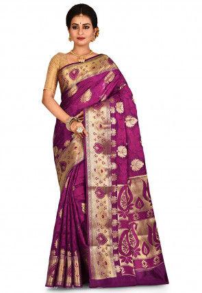 Banarasi Pure Silk Saree in Purple