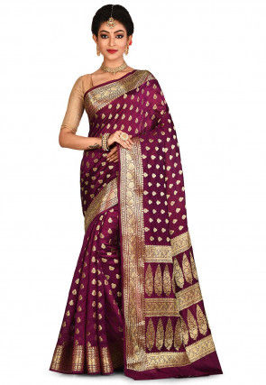 Banarasi Pure Silk Saree in Wine