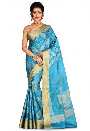 Banarasi Pure Tussar Silk Saree in Blue