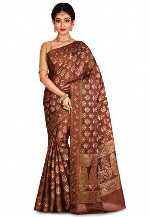 Banarasi Pure Tussar Silk Saree in Dark Brown