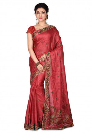 Banarasi Pure Tussar Silk Saree in Dark Old Rose