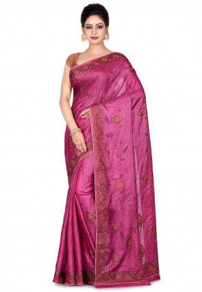 Banarasi Pure Tussar Silk Saree in Dusty Pink