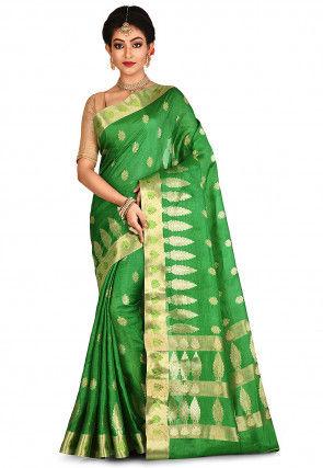 Banarasi Pure Tussar Silk Saree in Green
