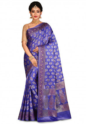 Banarasi Pure Tussar Silk Saree in Indigo Blue