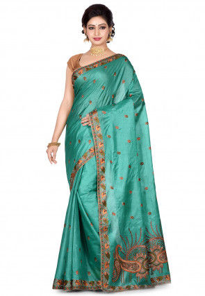 Banarasi Pure Tussar Silk Saree in Light Teal Green