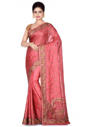 Banarasi Pure Tussar Silk Saree in Old Rose