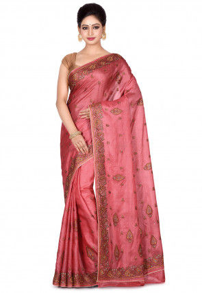 Banarasi Pure Tussar Silk Saree in Old Rose