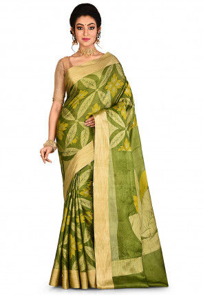 Banarasi Pure Tussar Silk Saree in Olive Green