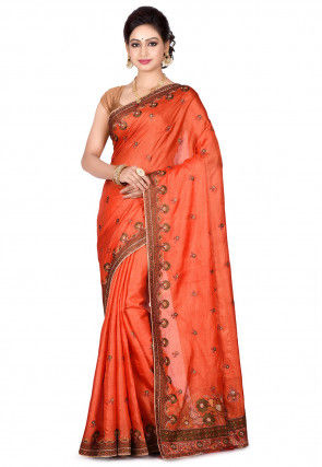 Banarasi Pure Tussar Silk Saree in Rust