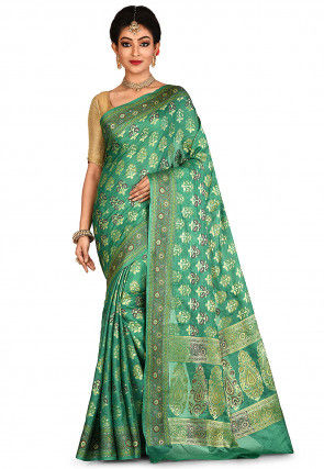 Banarasi Pure Tussar Silk Saree in Teal Green