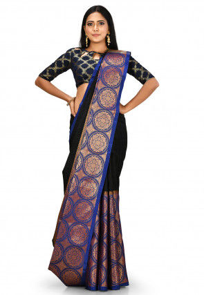Kanchipuram Saree in Black and Blue