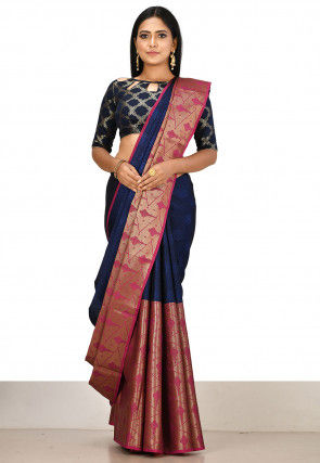 Kanchipuram Saree in Blue and Pink