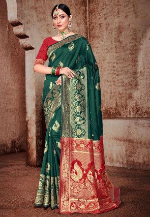 Banarasi Saree in Dark Green