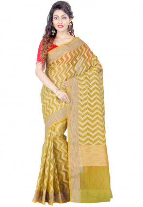 Banarasi Saree in Light Olive Green