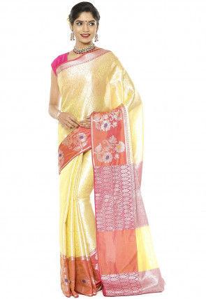 Banarasi Saree in Light Yellow