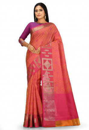 Banarasi Saree in Mustard and Fuchsia