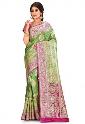 Banarasi Saree in Olive Green
