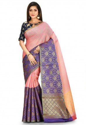 Kanchipuram Saree in Pink and Blue