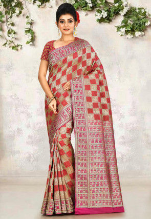Banarasi Saree in Red and Golden