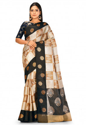 Banarasi Saree in Silver and Golden