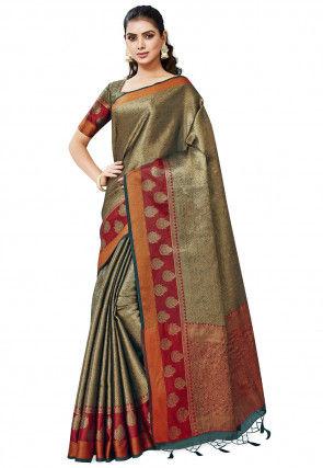 Banarasi Saree in Teal Blue and Golden