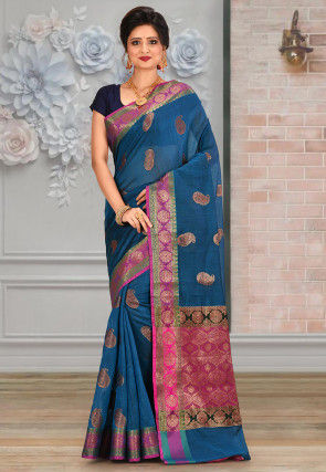 Banarasi Saree in Teal Blue