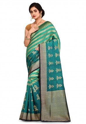 Banarasi Saree in Teal Green and Teal Blue Shaded