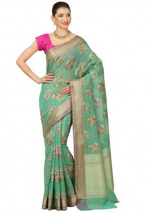 Banarasi Saree in Teal Green