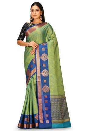 Banarasi Saree in Turquoise and Yellow