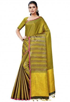 Banarasi Saree in Yellow and Black