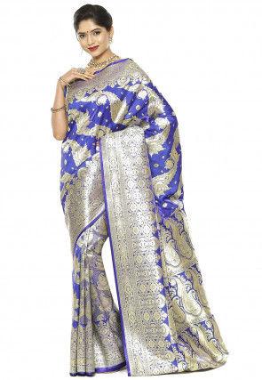 Banarasi Satin Saree in Royal Blue