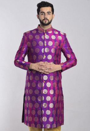 Banarasi Sherwani in Shaded Purple