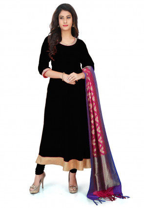 Banarasi Silk Anarkali Suit  in Black