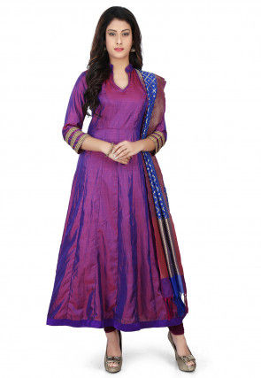 Banarasi Silk Anarkali Suit with Pure Silk Dupatta in Purple