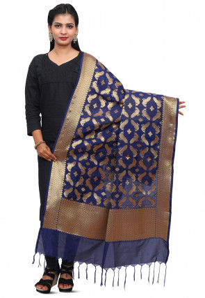 Banarasi Silk Dupatta in Dark Blue