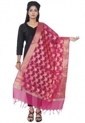 Banarasi Silk Dupatta in Fuchsia