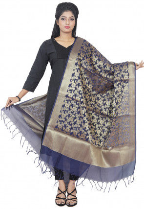 Banarasi Silk Dupatta in Navy Blue