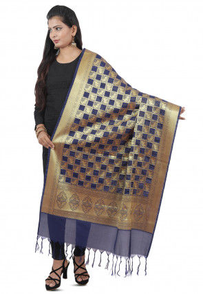 Banarasi Silk Dupatta in Navy Blue