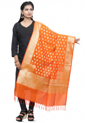 Banarasi Silk Dupatta in Orange