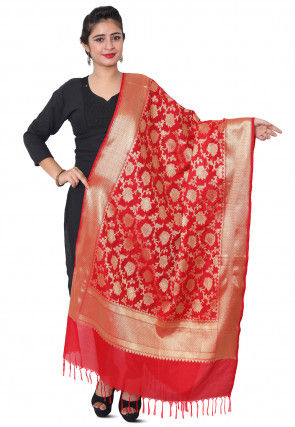 Banarasi Silk Dupatta in Red