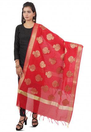 Banarasi Silk Dupatta in Red